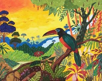 Painting, painting, oil painting tropical, tropical painting, toucan, bird painting, ensuring the Toucan