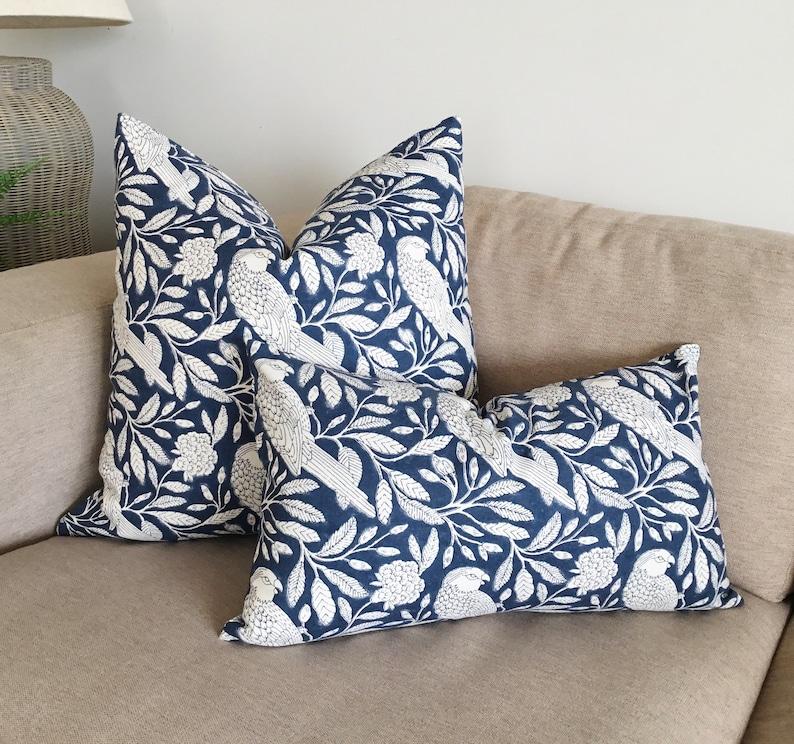blue and white cushion covers cushions Australia Bird print spring pillow covers French country cushions lumbar cushion