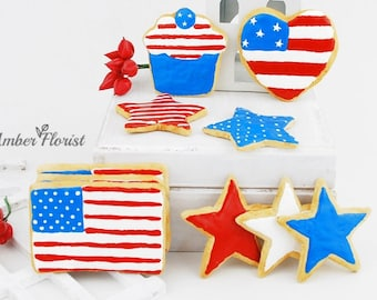 Fake cookies, patriotic decor, 4th of july decor, americana decor, fourth of july decor,flag decor ,party decorations,red white blue decor