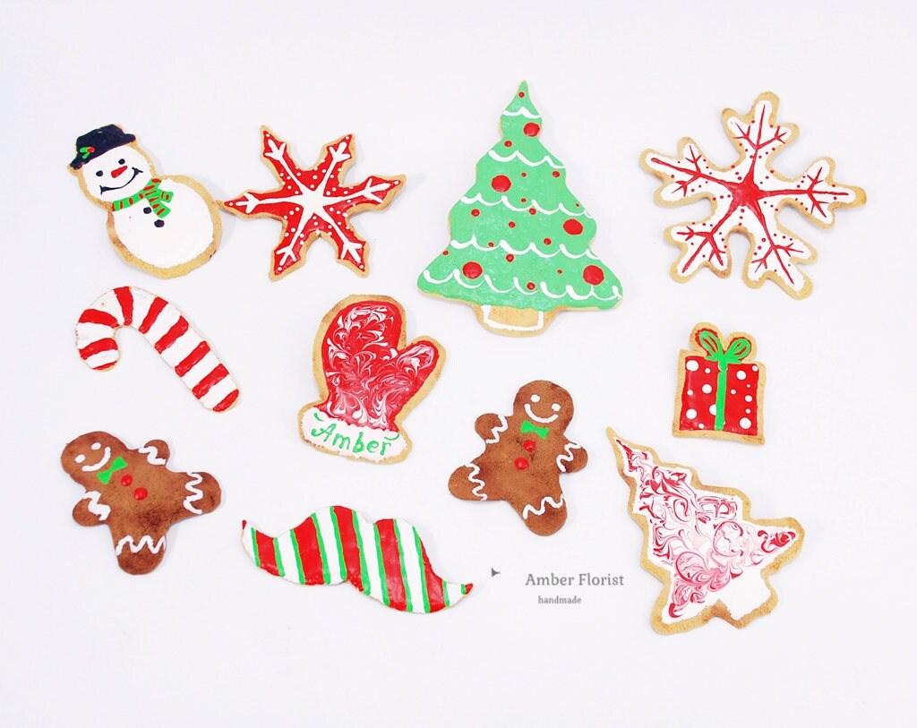 Fake cookie Iced Christmas tree Christmas Ornament | Etsy