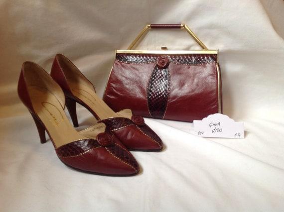 62aaeda79ec103 Vintage Gina marron Bordeaux Bordeaux Bordeaux chaussure assorti et sac set  taille 5 1/2 | Pour Gagner L'éloge Chaleureux Auprès De Ses Clients 71996f