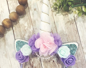 lavender and gold flower crown unicorn headband bow Starsweeper