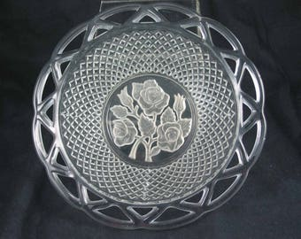 Vintage Pressed Glass BOWL with LATTICE work and deeply etched Roses - Good for hostess gift or fruit bowl