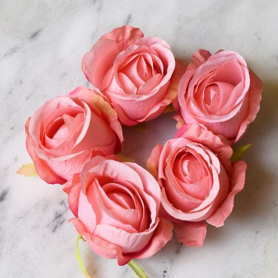 Pink Rose Set Of Five Coral Rose Light Pink Rose Medium Etsy