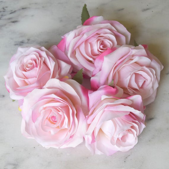 Light pink roses set of five pink rose heads baby pink etsy image 0 mightylinksfo