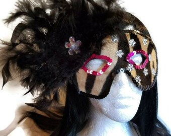 Black and brown animal print with black feathers and rhinestone flowers masquerade ball mardi gras Renaissance medieval sku