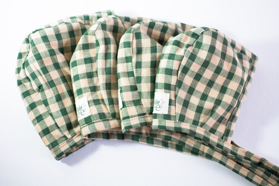 Green plaid bonnet cute baby gifts baby shower gifts vintage style bonnet light green baby bonnet floral bonnet