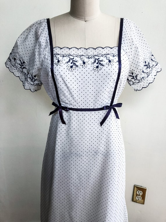 Little House Boho Chic Navy Polk Dot Linen Dress
