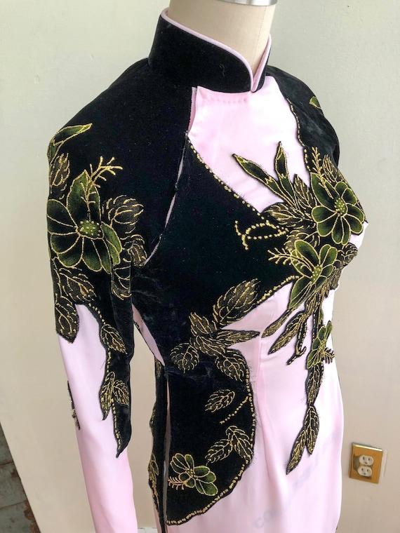Vintage Qipao Cheongsam Mandarin Collar Pink & Bla