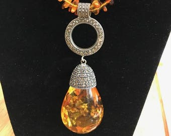 Amber necklace with Marcasite pave pendant