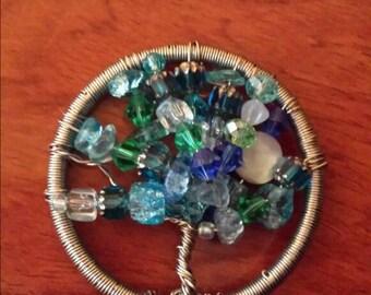 Blue moon tree of life pendant