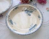 French antique bowl platter, Sarreguemines blue transferware, vintage serving plate, botanical Royat flower, 1900 sepia tea ironstone dish