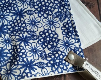 Blue Floral Lovie- Lovey- Lovey Baby Blanket- Lovie Baby Blanket- Mini Baby Blanket- Security Blanket- Blankie