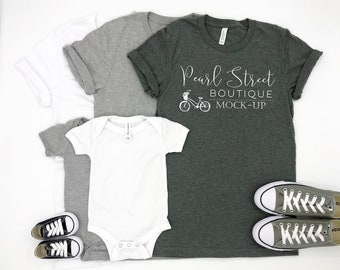 Download Free Family Set Bella Canvas Set Mock-Up | Shoes Plain White Athletic Gray Deep Heather Shirt Onesie | Baby Converse | Summer Fall Winter Spring PSD Template
