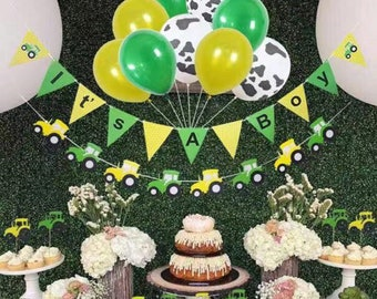 9908620a3 John Deere baby shower decorations for boy, farm birthday party supplies,  tractor party supplies, 12 pc tractor cupcake topper