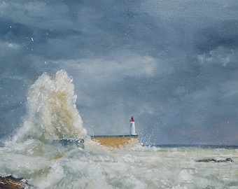"Painting ' oil depicting Lighthouse Sables D'olonne ""White Lame on red Lighthouse"""