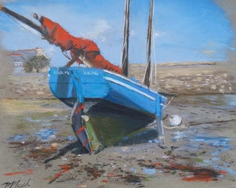 """Navy paint with the pastels """"Barr Awel: waiting for the tide"""""""