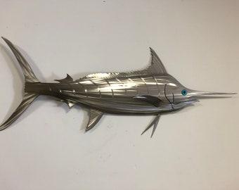 "48"" Stainless Steel Marlin, Marlin, Marlin Sculpture"