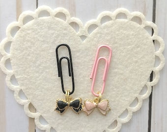 Beautiful Petite Bow Dangle Paperclips in Pink or Black