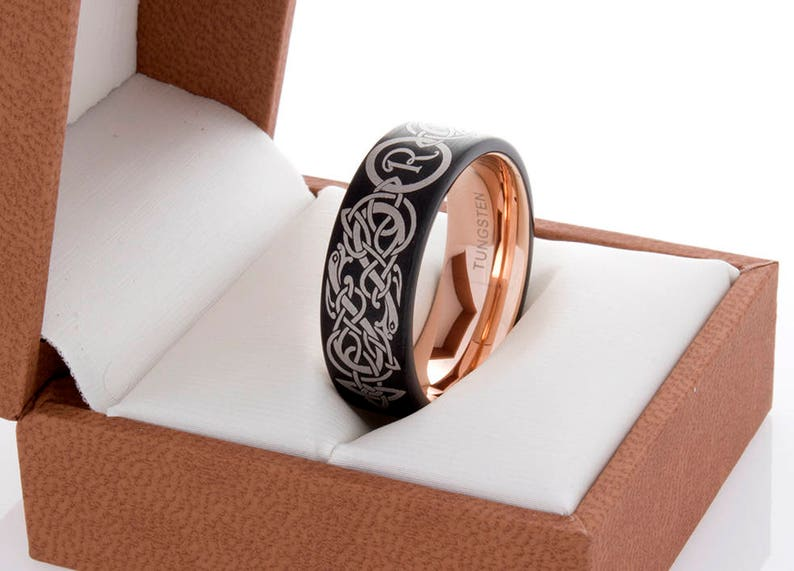 Tungsten Custom Celtic Initial Design Rose Gold And Black 8MM Tungsten Wedding Band Men/'s Tungsten Ring Tungsten Band Personalized Engraving