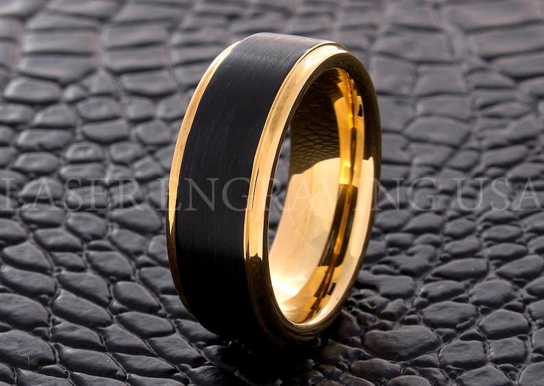 286febe10d7be Tungsten Wedding Ring Tungsten Ring Yellow Gold Black 8MM Wedding Band Men  Tungsten Ring Women Tungsten Ring Custom Free Laser Engraving