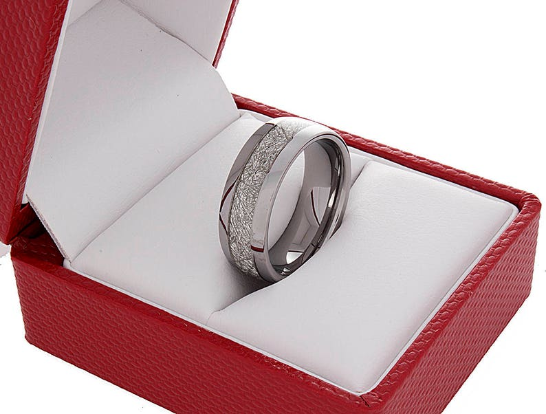 Tungsten Wedding Ring Meteorite Band Silver Color 8MM Men Women Wedding Band Anniversary Engagement Promise Ring Comfort Fit New Design Ring