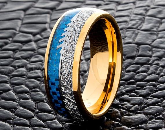 Wolfraam Trouwring Blue Carbon Fiber Meteoriet Pijl Geel Goud 8mm Wolfraam Trouwring Mannen Wolfraam Ring Wolfraam Band Ring Voor Mannen
