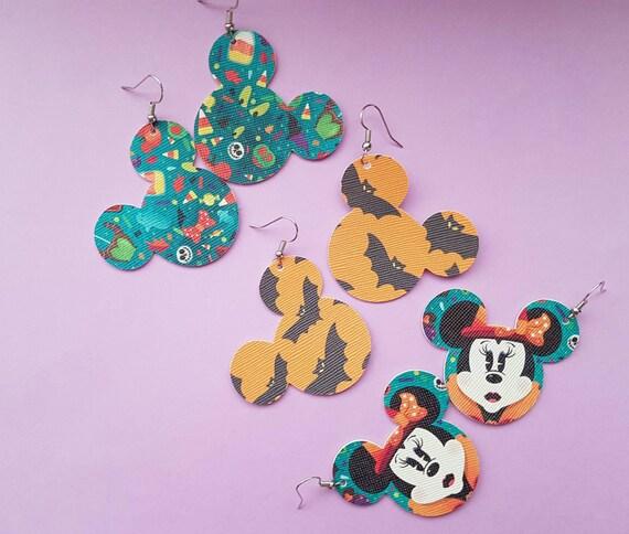 Spoooky Season Earrings | mickey head earrings | faux leather earrings | bat print earrings | Halloween park snacks earrings