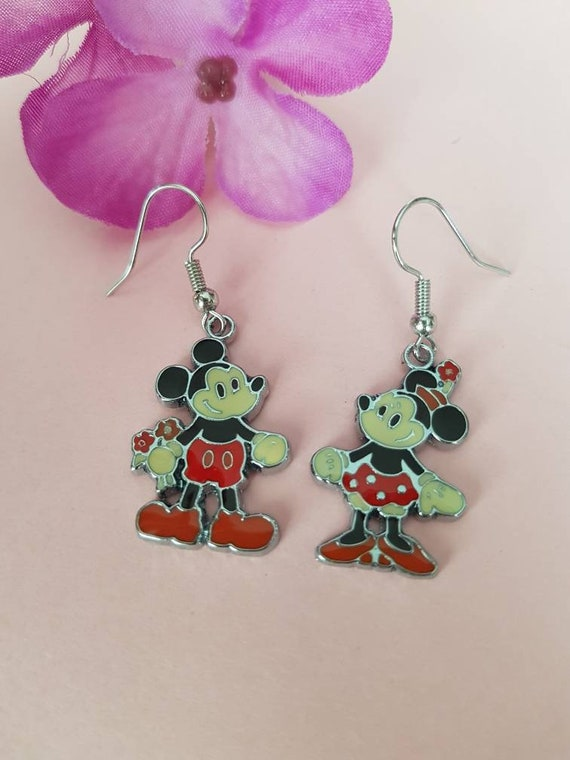 Cartoon Mouse couple earrings | Mr and Miss Mouse enamel earrings | silver plated enamel earrings