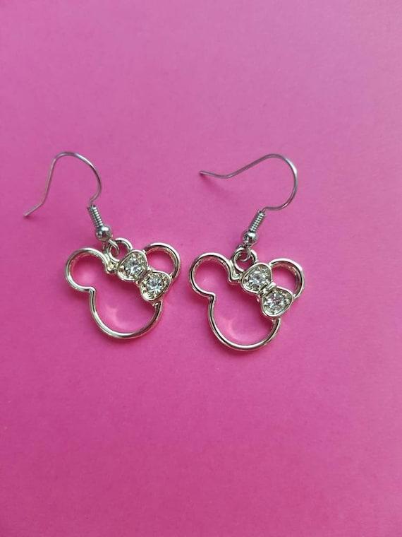 Miss Mouse Sparkle bow earrings | Minnie faux rhinestone earrings | silver tone Minnie earrings with faux diamond bow