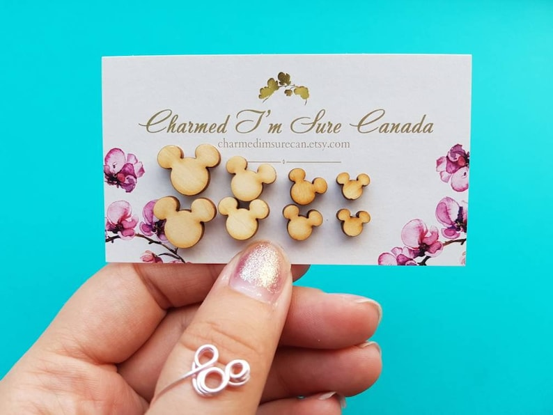 4 sizes available Mickey mouse laser cut earrings 1 pair Mickey head studs Mickey Mouse wooden stud earrings