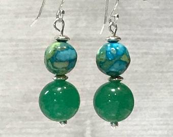 Green Aventurine Earrings, green stone earrings, green dangle earrings, gemstone earrings, green earrings, green jewelry, dangle earrings