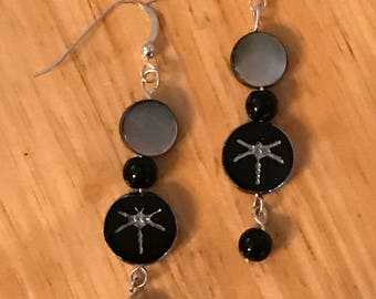 Black Dragonfly Earrings, black and silver earrings, dragonfly earrings, boho earrings, nature earrings, bug earrings, Damselfly earrings