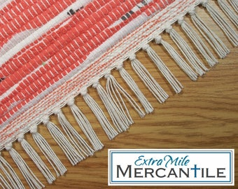 "Handmade Rag Rug Runner in Coral Red and White Hand Woven Loom Woven 28"" x 77.75"" Machine Washable"