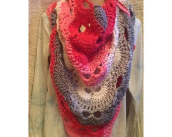 Pink, Grey, & White Crochet Shawl