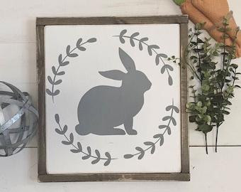 Easter Sign | 12x12 | bunny sign | easter decor | Spring | fixer upper style |