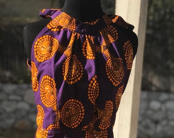 Gorgeous Size 12 Purple and Yellow Halter neck  women's African Fabric Long Dress