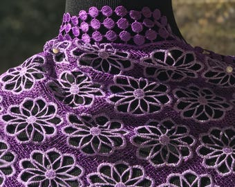 Gorgeous Purple Cord African Lace with a slight shimmer 5 yards