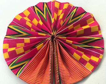 Pink orange yellow Kente Ankara african wedding favor ethnic print fabric round windmill style handmade hand fan with leather trim folding
