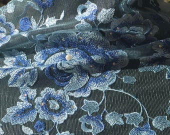 Blue A-frican Net Lace with Rose design and stones 5 yards