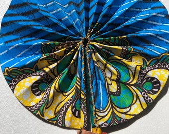 Blue yellow green Kente Ankara african wedding favor ethnic print fabric round windmill style handmade hand fan with leather trim folding