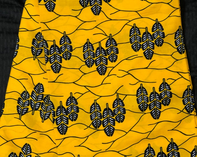 YB62 6 yards Yellow navy Blue Leaf Design kitenge African Fabric/ African Wax print