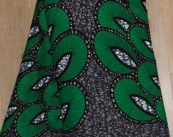 GBL6 6 yard green  black feathers African Fabric/ ankara/ african Wax Print/ ethnic print/ traditional print