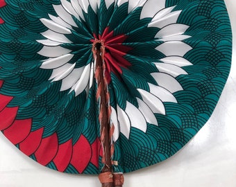 teal red white  Ankara african wedding favor ethnic print fabric round windmill style handmade hand fan with leather trim folding