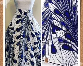 A1107 1 yard Blue white peacock/ rain bulb ethnic print/ Doll cloth/ african fabric/ african clothing/ women dress/ African ankara fabric