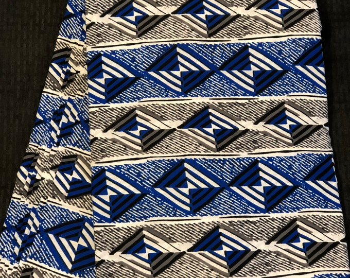BLW13 African fabric per yd royal Blue white black geometric ankara/ african Wax Print/ ethnic print/ African material/ home decor