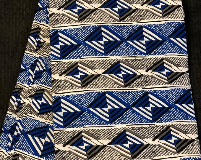 BLW13 African fabric per yd royal Blue white black geometric ankara/ african Wax Print/ ethnic print/ African material/ home decor