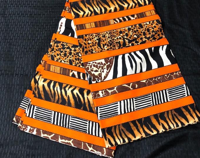 Per yard Black orange white animal print African fabric/ african print/ African clothing/ African home decor/ ethnic print/ African material