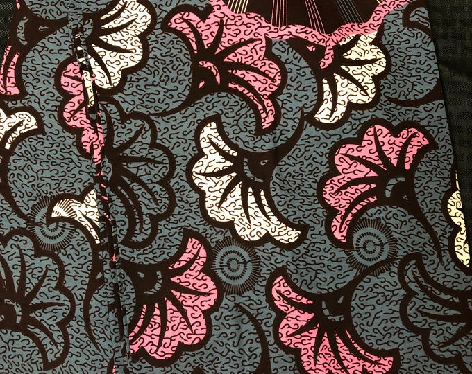 A6465 6yards fuschia Pink grey black salad floral flower  Design African Fabric/African Wax print/ Ankara/ Sew Dress/ african table napkin