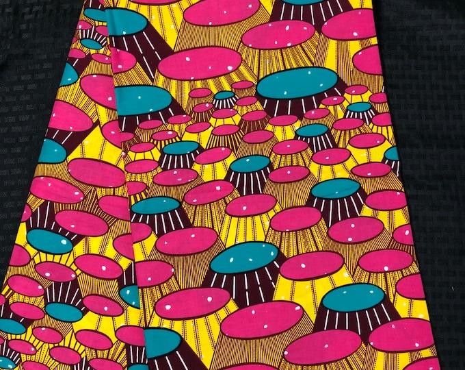 PIY14 african fabric per yard pink yellow bar stool banquet table African Wax print/ Ankara for Sewing Dress/ African hats/ art crafts/do